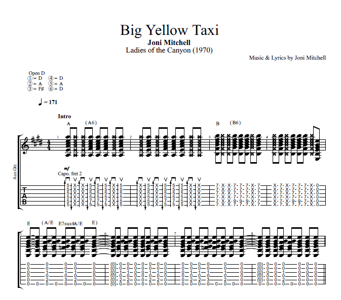 Big Yellow Taxi By Joni Mitchell Guitar Tab Chords Sheet