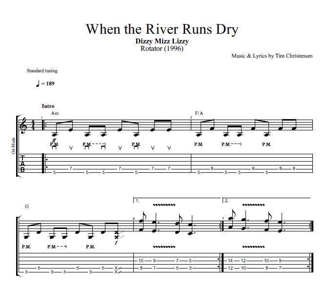 When The River Runs Dry By Dizzy Mizz Lizzy Guitar Bass Tabs