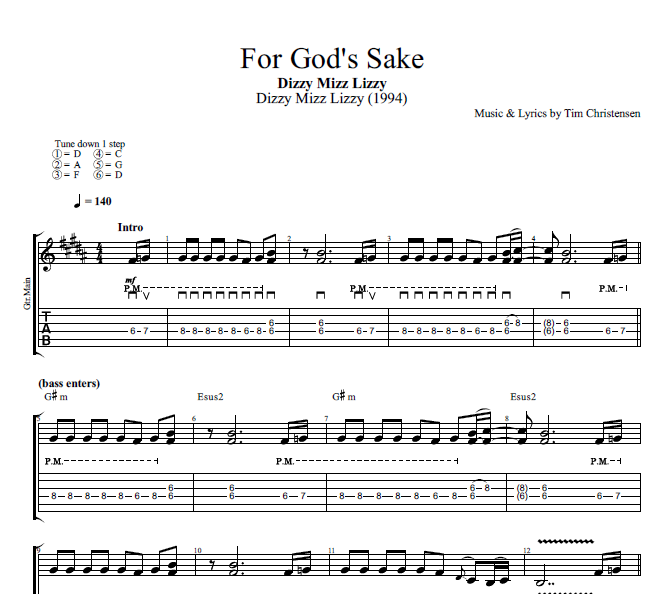 for god 39 s sake by dizzy mizz lizzy guitar bass tabs chords lyrics play like the. Black Bedroom Furniture Sets. Home Design Ideas