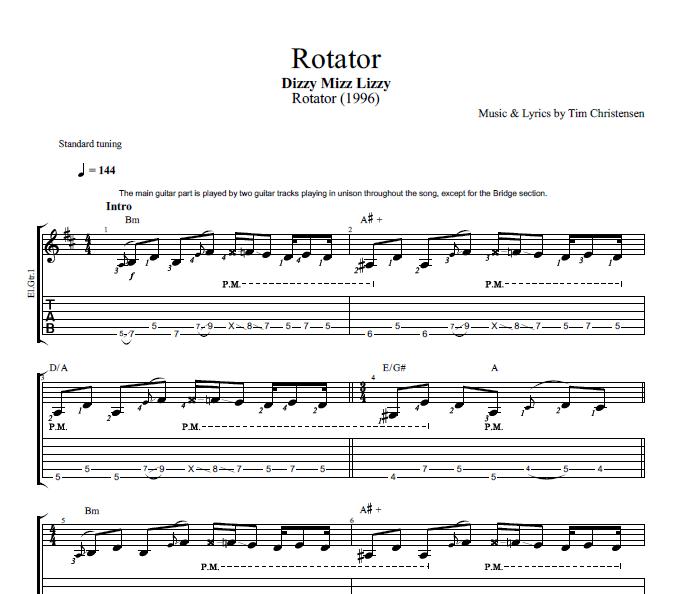 Rotator By Dizzy Mizz Lizzy Guitar Bass Tabs Chords
