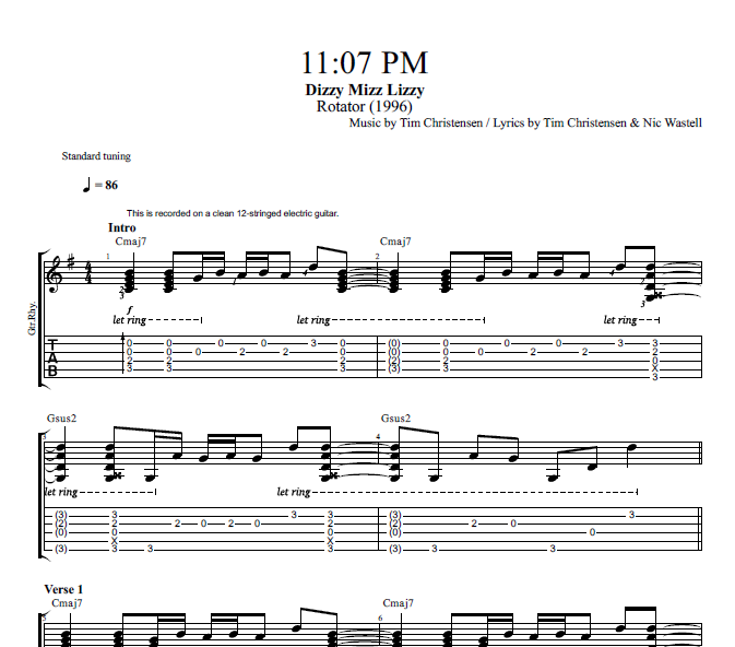 1107 Pm By Dizzy Mizz Lizzy Guitar Bass Tabs Chords