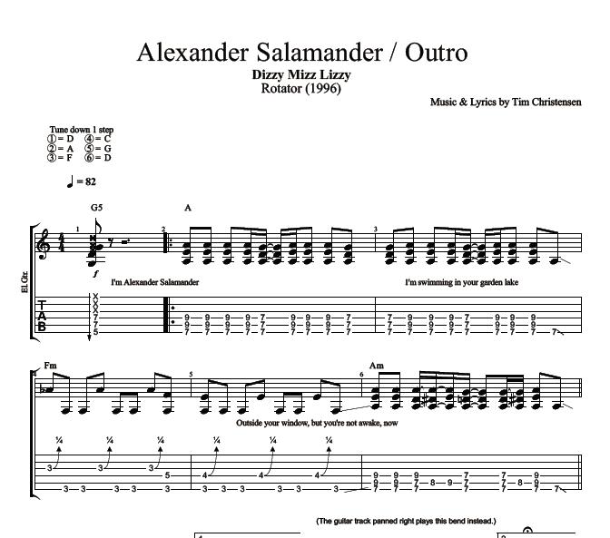 Alexander Salamander Outro By Dizzy Mizz Lizzy Guitar Bass