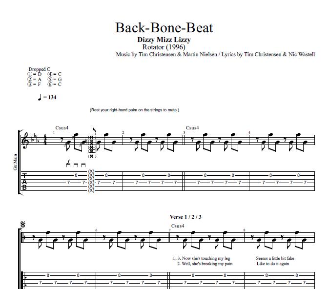 Back Bone Beat By Dizzy Mizz Lizzy Guitar Bass Tabs Chords