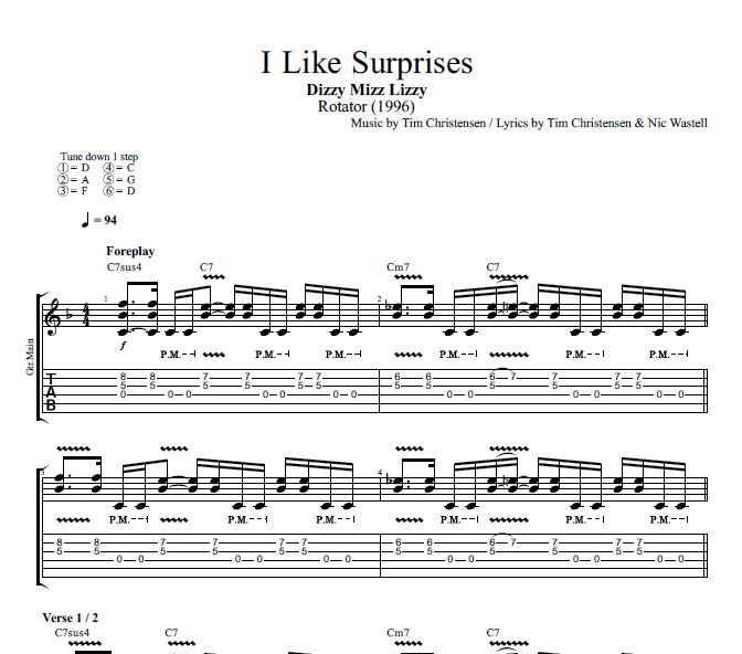 "45 Best Sheet Music And Tabs Of Epicness Images On: ""I Like Surprises"" By Dizzy Mizz Lizzy"