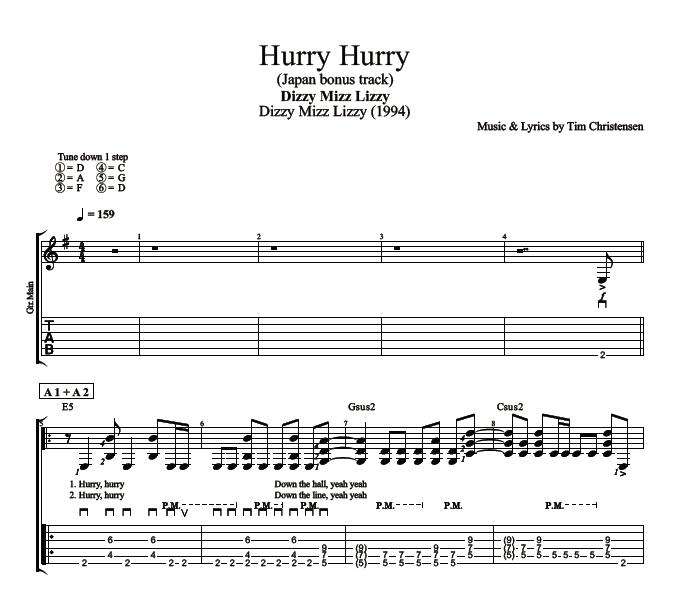 Hurry Hurry By Dizzy Mizz Lizzy Guitar Bass Tabs Chords