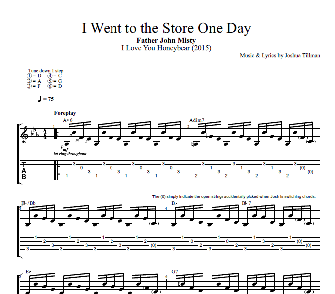 """Capotastomusic Free Sheet Music Scores Love This Blog: """"I Went To The Store One Day"""" By Father John Misty"""