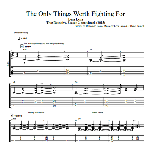 "Guitar guitar tabs and chords : The Only Thing Worth Fighting For"" by Lera Lynn 