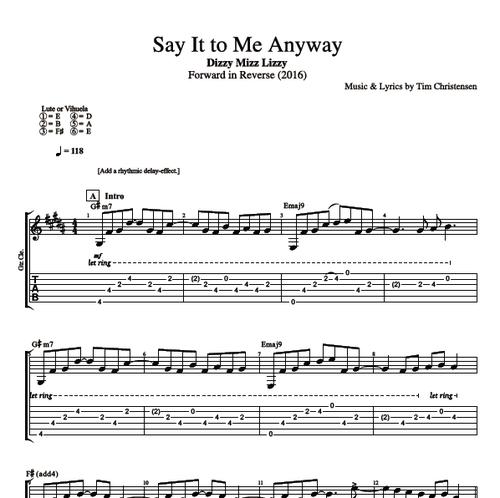 Say It To Me Anyway By Dizzy Mizz Lizzy Guitar Bass Tabs
