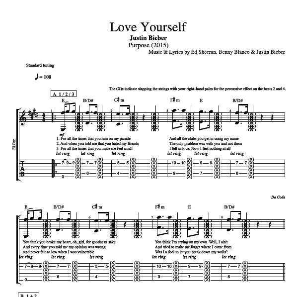 love yourself by justin bieber guitar trumpet tab chords sheet music lyrics play. Black Bedroom Furniture Sets. Home Design Ideas