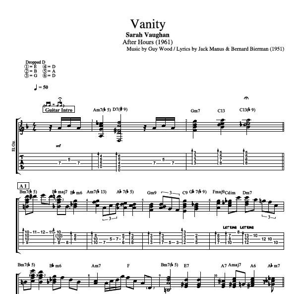vanity by sarah vaughan guitar bass tabs sheet music chords play like the greats com. Black Bedroom Furniture Sets. Home Design Ideas