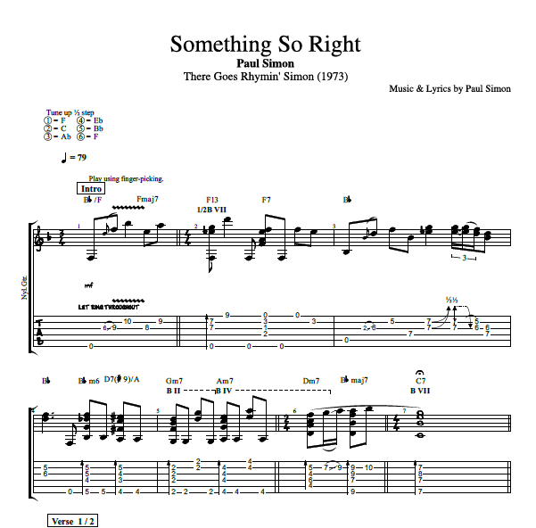 "Guitar guitar chords on sheet music : Something So Right"" by Paul Simon 