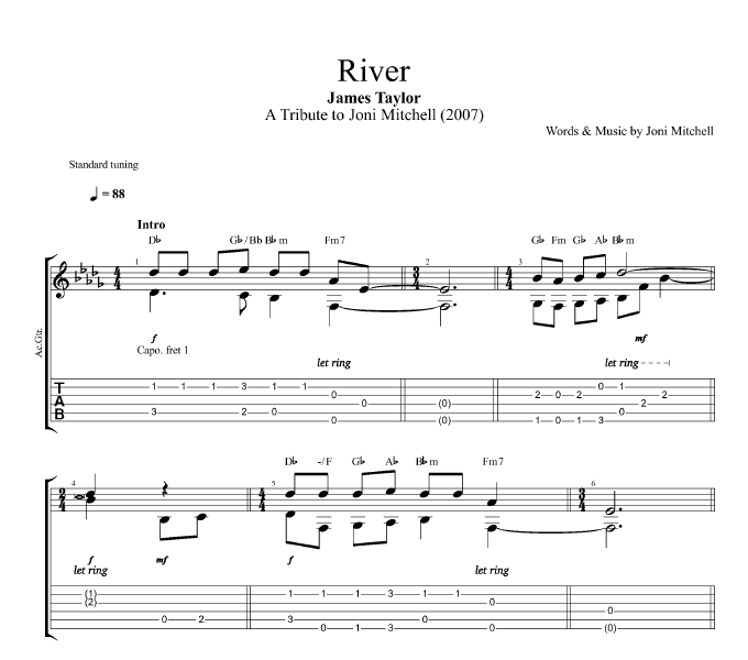 "Valerie Lyrics And Piano Notes: ""River"" By James Taylor"