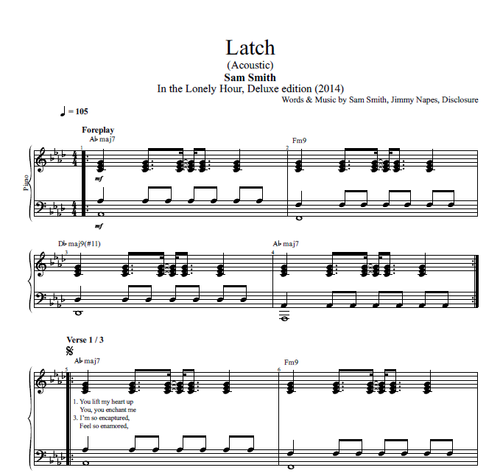 Latch Acoustic By Sam Smith Piano Sheet Music Chords