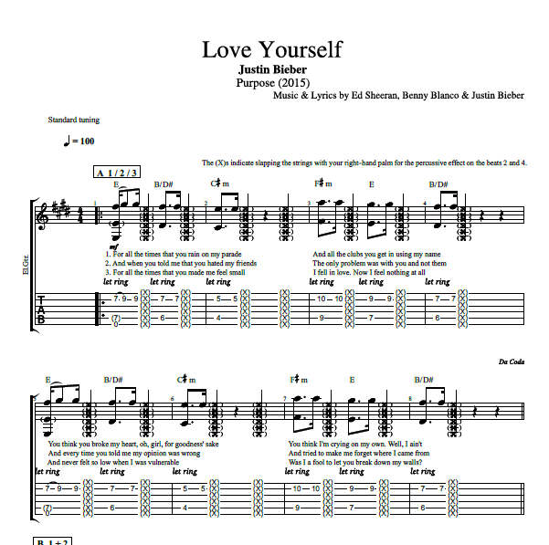 "Capotastomusic Free Sheet Music Scores Love This Blog: ""Love Yourself"" By Justin Bieber"