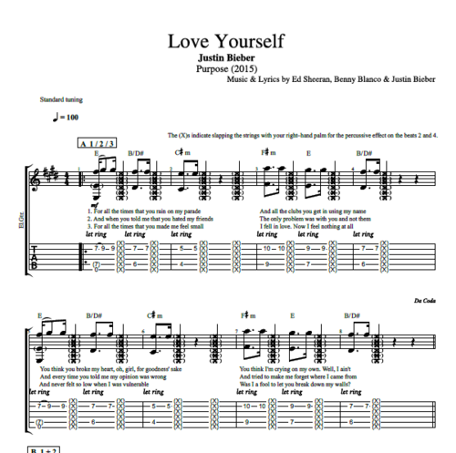 Love Yourself By Justin Bieber Guitar Trumpet Tab Chords