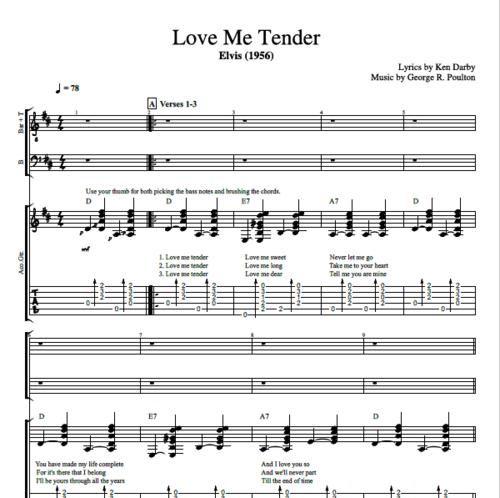 Love Me Tender By Elvis Presley Guitar Choir Tab Chords