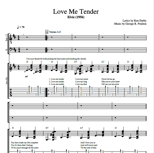 Love Me Tender By Elvis Presley Guitar Choir Tab Chords