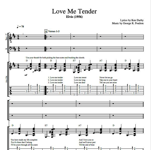 love me tender by elvis presley guitar choir tab chords sheet music lyrics play. Black Bedroom Furniture Sets. Home Design Ideas