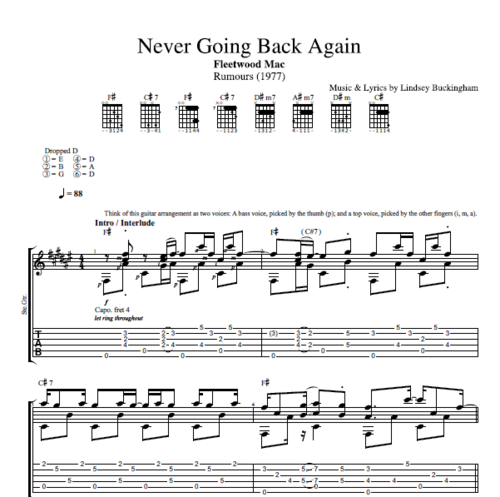 "Guitar guitar chords on sheet music : Never Going Back Again"" by Fleetwood Mac 