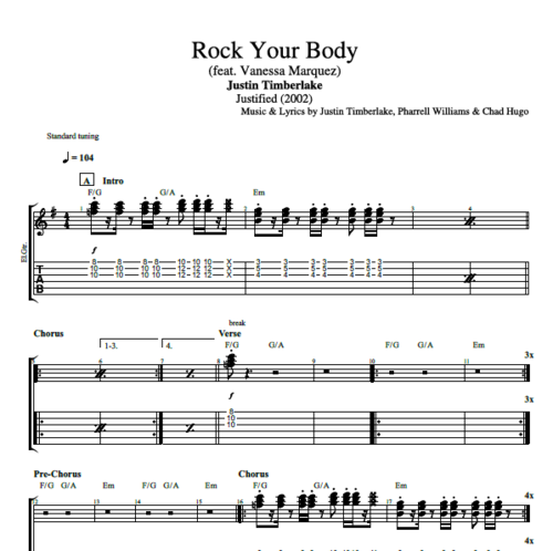 Rock Your Body By Justin Timberlake Guitar Bass Piano Tabs