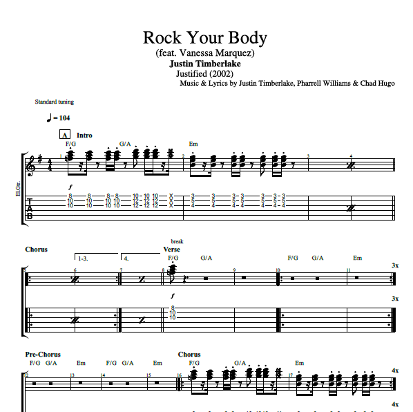 rock your body by justin timberlake guitar bass piano tabs chords sheet music. Black Bedroom Furniture Sets. Home Design Ideas