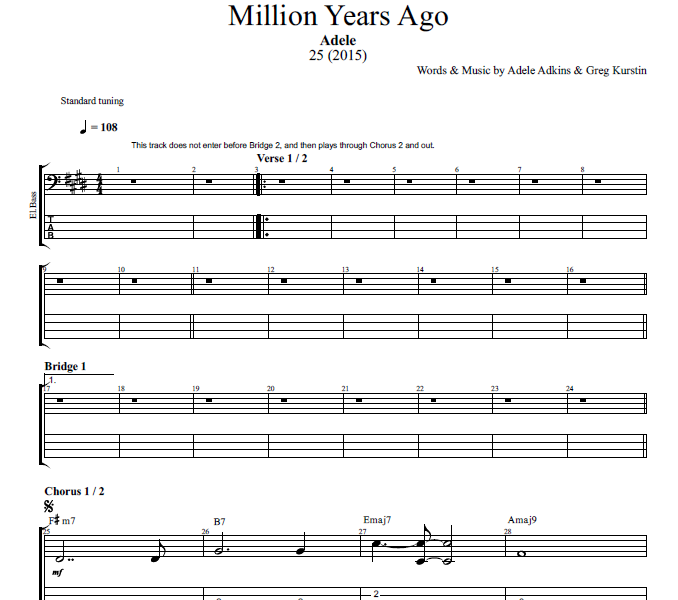 "Guitar guitar chords music : Million Years Ago"" by Adele 