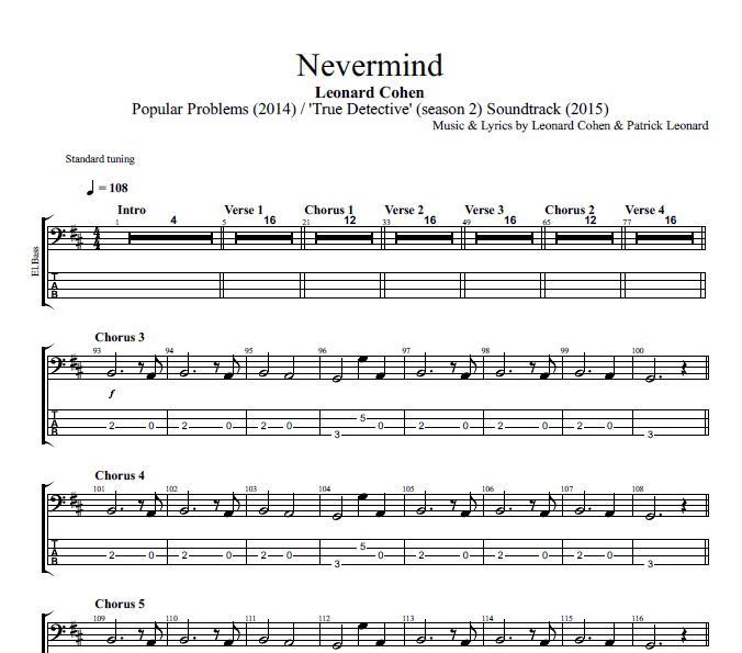 Nevermind By Leonard Cohen Piano Bass Sheet Music Chords
