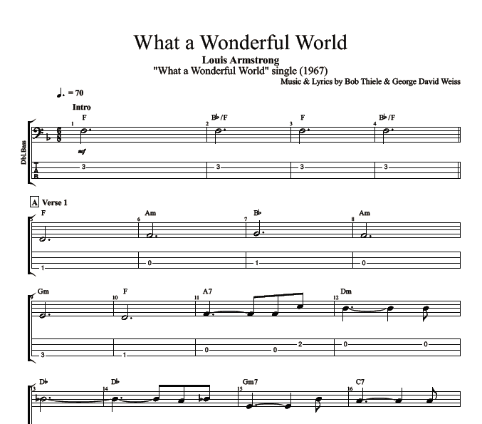 what a wonderful world by louis armstrong guitar bass tabs chords sheet music. Black Bedroom Furniture Sets. Home Design Ideas