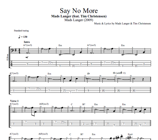 Say No More By Mads Langer Feat Tim Christensen Guitar Bass