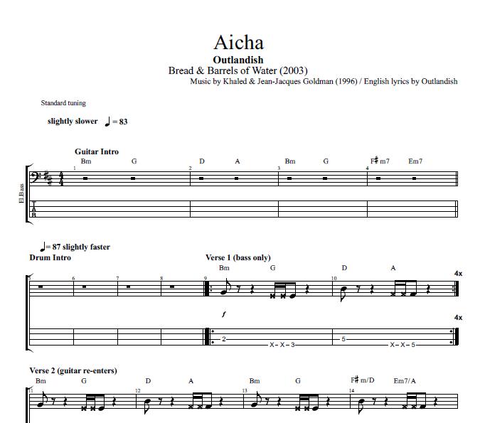 Aicha By Outlandish Guitar Bass Tabs Chords Sheet Music