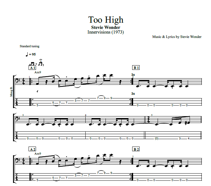 Too High By Stevie Wonder Piano Bass Sheet Music Chords