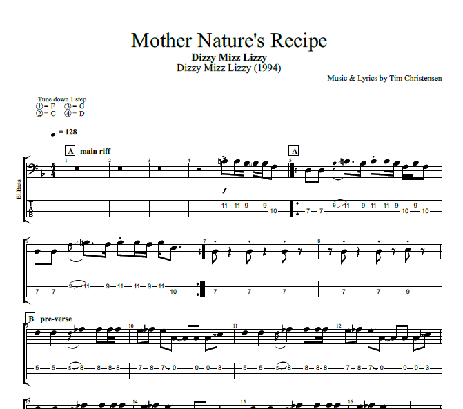 Mother Natures Recipe By Dizzy Mizz Lizzy Guitar Bass Tabs