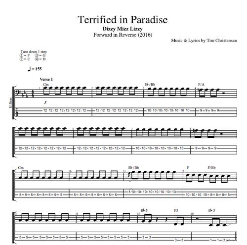 Terrified In Paradise By Dizzy Mizz Lizzy Guitar Bass Tabs
