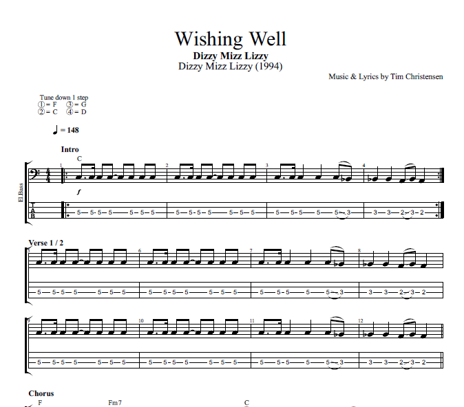 Wishing Well By Dizzy Mizz Lizzy Guitar Bass Tabs Chords