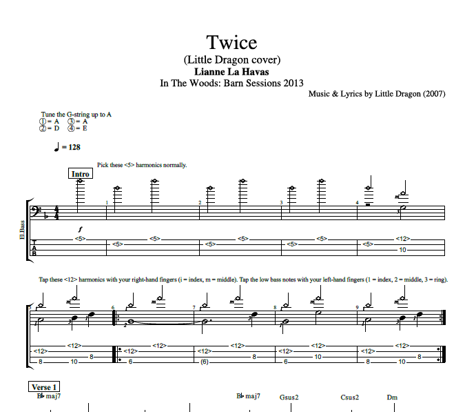 Twice Little Dragon Cover By Lianne La Havas Bass Tab Sheet