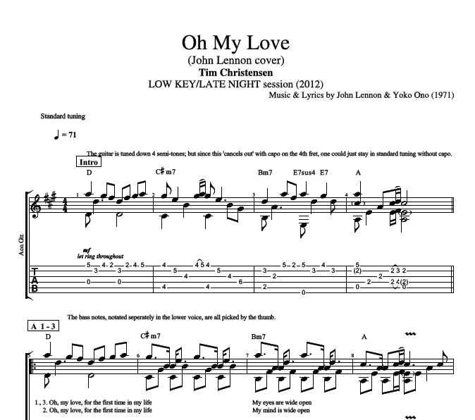 "Capotastomusic Free Sheet Music Scores Love This Blog: ""Oh My Love"" By Tim Christensen"