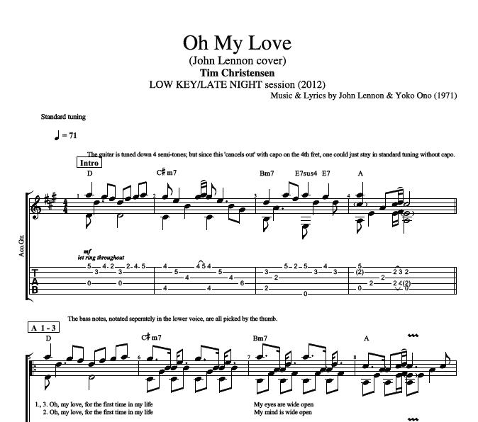 "Oh My Love"" by Tim Christensen    Guitar: Tabs + Chords + Lyrics ..."