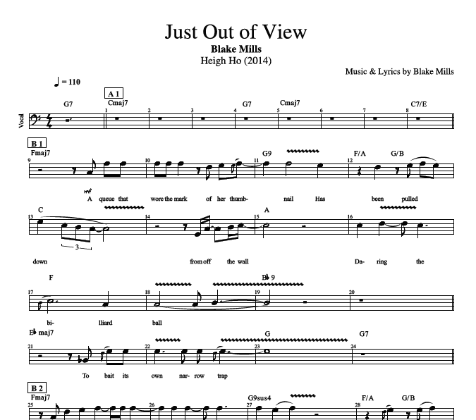 "Guitar guitar tabs and chords : Just Out of View"" by Blake Mills 
