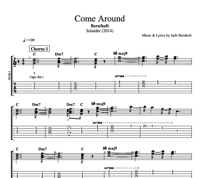 Come Around By Bernhoft Guitar Bass Piano Vocal Tabs