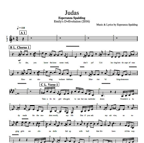 Judas By Esperanza Spalding Bass Guitar Voice Tabs Sheet