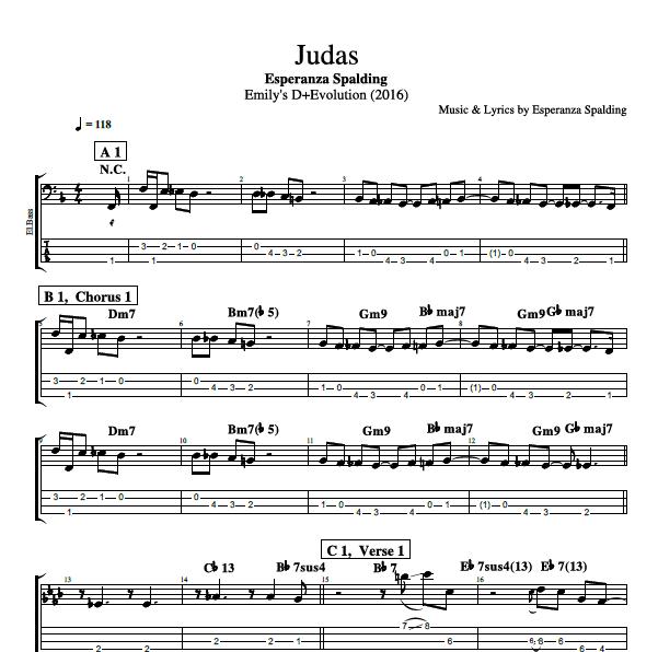 Judas By Esperanza Spalding Bass Guitar Voice Tabs Sheet Musicscore Chords Lyrics Play Like The Greats Com
