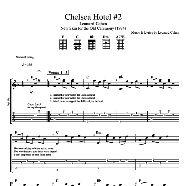 Chelsea Hotel 2 By Leonard Cohen Guitar Brass Tab Chords