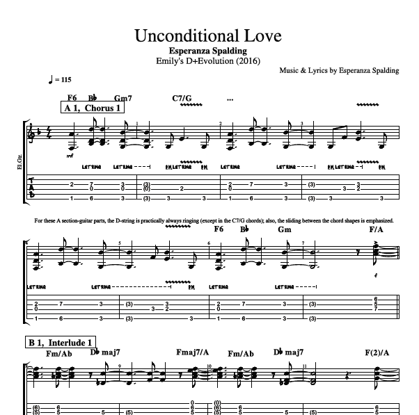 Unconditional Love By Esperanza Spalding Guitar Bass Voice Tabs Sheet Music Chords Lyrics Play Like The Greats Com