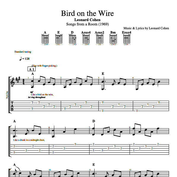 Bird On The Wire By Leonard Cohen Guitar Bass Tabs Chords