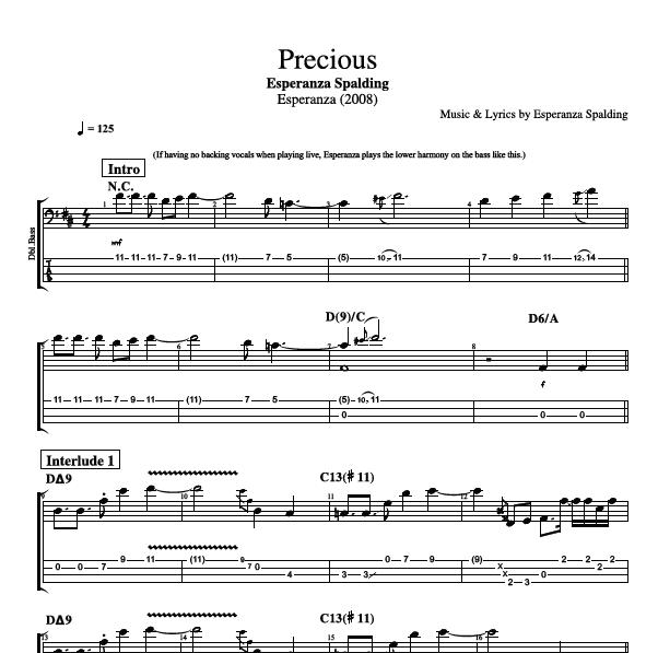 Precious By Esperanza Spalding Bass Voice Lead Sheet Sheet Music Chords Lyrics Play Like The Greats Com