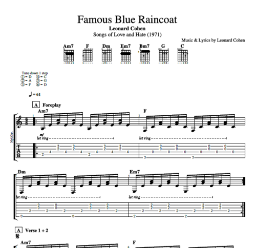 "Guitar guitar chords sheet : Famous Blue Raincoat"" by Leonard Cohen || Guitar: Tab + Chords + ..."