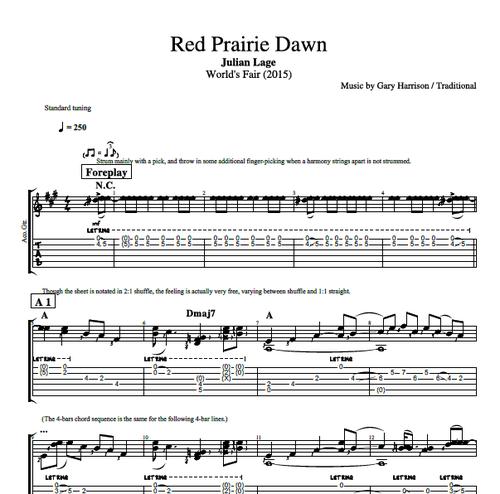 Red Prairie Dawn By Julian Lage Guitar Tab Sheet Musicscore