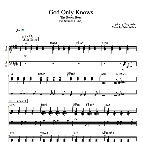 """Piano Sheet Music Midi: """"God Only Knows"""" By The Beach Boys"""