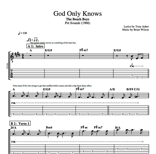 God Only Knows By The Beach Boys Piano Voice Bass Guitar