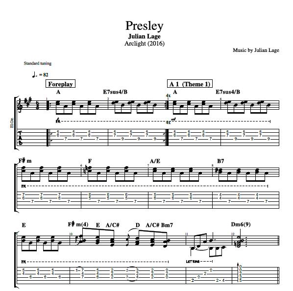 presley by julian lage guitar bass lead sheet tabs sheet music chords play like. Black Bedroom Furniture Sets. Home Design Ideas